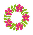 floral wreath flowers and leaves foliage vector image
