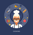 Food Icons and Objects in the Shape of Circle Chef vector image