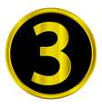Number three button vector image
