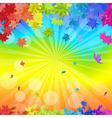 Rainbow Maple Leaves vector image