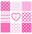 Set of hand-drawn textures heart shapes and vector image
