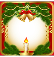 new years background with a candle berries and vector image