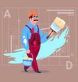 Cartoon painter hold paint brush decorator builder vector image