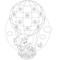 Child flying on a balloon vector image vector image