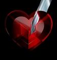 broken heart-crystal and blade vector image vector image