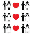 groom and bride icon sets vector image