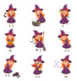 little girl witch set wearing purple dress and hat vector image