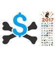 Mortal Debt Icon With 2017 Year Bonus Symbols vector image
