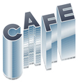 Set of buildings in word CAFE vector image