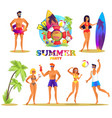 summer party bright isolated set vector image