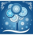 Winter Card with Tree and Snowflakes vector image