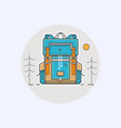 with cartoon flat backpack and vector image