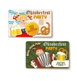 Beautiful Oktoberfest label with beer and pretzel vector image