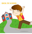 boy feeling happy to going back to school vector image
