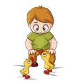 Baby with ducklings vector image