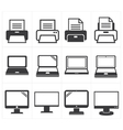 icon office equipment Fax laptopprinter vector image
