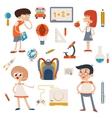 Cartoon School Retro Children Set vector image