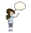 cartoon waitress with thought bubble vector image