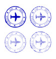 air mail post service faded round stamp vector image