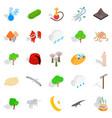 animality icons set isometric style vector image