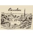 Barcelona landscape Spain hand drawn sketch vector image