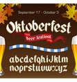 Oktoberfest vintage font with beer and autumn vector image