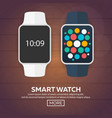 smart watch isolated on white stainless silver vector image