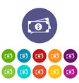 american dollars set icons vector image