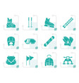 stylized ski and snowboard equipment icons vector image