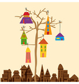 Little town tree vector image
