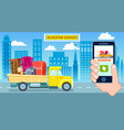 Relocation service poster with freight truck vector image