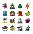 tropical icons set vector image vector image