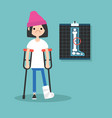 Disabled brunette girl on crutches with broken vector image