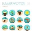 Island beach icon set Summer Vacation vector image