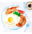 Breakfast watercolors bacon eggs vector image
