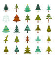 Christmas tree icon set Flat design vector image