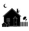 Small house silhouette vector image