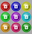 Washing machine icon sign symbol on nine round vector image
