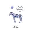 young standing zebra in watercolor vector image