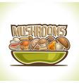 dish with edible mushrooms vector image