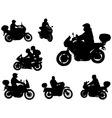 motorcyclists silhouettes vector image