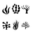 black seaweed icons set vector image