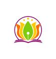 book lotus flower yoga education logo vector image