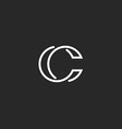 Logo C monogram modern letter mockup elegant vector image