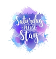 Saturday Please Stay T shirt hand lettered vector image