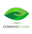 Green handshaking logo vector image vector image