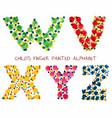 colorful funny paint alphabet s t r u letters vector image