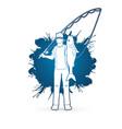 fisherman standing and show big fish vector image