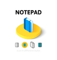 Notepad icon in different style vector image