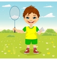 Young boy with badminton racket and shuttlecocks vector image vector image